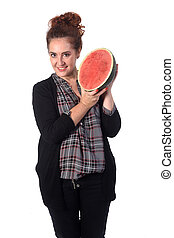 woman with watermelon on white background