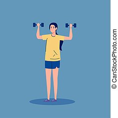 woman with weights, heavy equipment, sport and leisure ...