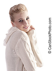 woman with white comfortable sweater