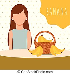woman with wicker basket filled fruit banana