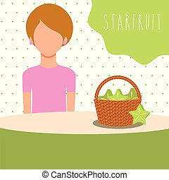 woman with wicker basket filled fruit carambola