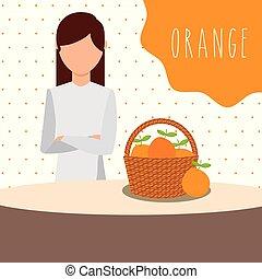 woman with wicker basket filled fruit orange
