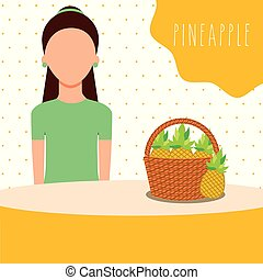 woman with wicker basket filled fruit pineapple