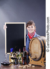 woman with wine and blackboard