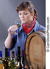 woman with wine barrel