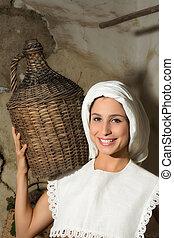 Woman with wine jug