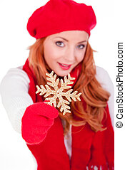Woman with winter red hat