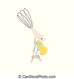 Woman with wire whisk