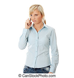 Woman with wireless phone