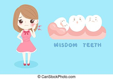 woman with wisdom teeth on the blue background