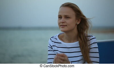 Woman with wistful look - Beautiful young woman with wistful...