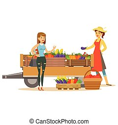 Woman With Wooden Cart With Vegetables And Client, Farmer...