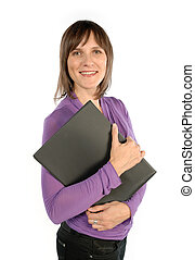Woman with workbook