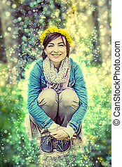 Woman with wreath of dandelions, beauty photo filter