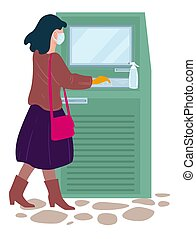 Woman withdrawing money at atm point, coronavirus outbreak