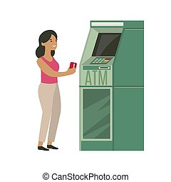 Woman withdrawing money from credit card at ATM.