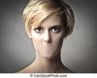 Blonde woman without mouth