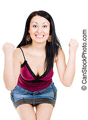 Woman won somethg - Winner gestuculating symbol yes with...