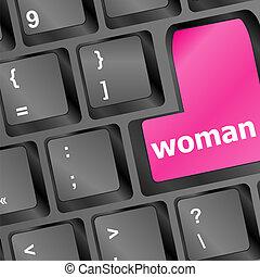 woman word on keyboard button