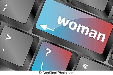 woman word on keyboard key button . keyboard keys. vector illustration