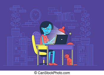 Woman work at night in home office with laptop