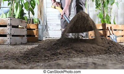 woman work in vegetable garden digging spring soil with...
