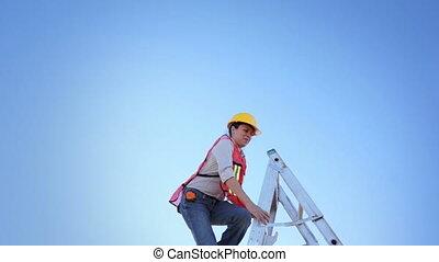 Woman Worker Climb Ladder Raise Han