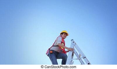 Woman Worker Climb Ladder Raised Ha
