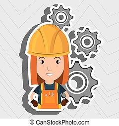 woman worker gears