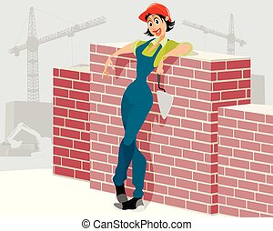 Woman worker on construction site