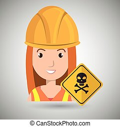 woman worker symbol danger