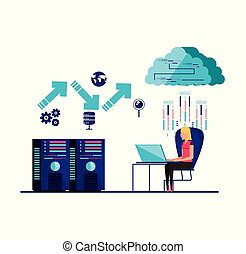woman working and set icons business