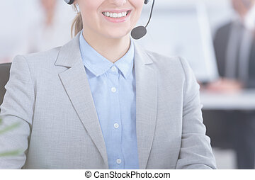 Woman working as telemarketer