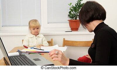 Woman working at home - Business woman working in the office...