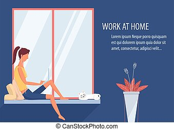 Woman working at home on laptop in the living room vector.