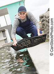 woman working at oyster fish farm