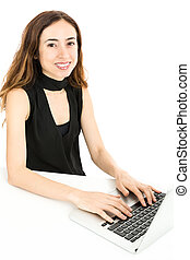 Woman working at the office with computer