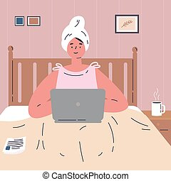 Woman working from home on laptop.Remote work