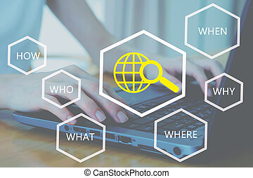 Woman working hand on keyboard close up, analyzing search problem and root cause by question what, where, when, why, who and how