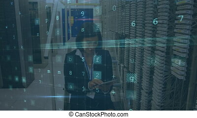 Woman working in a computer server room while warning messages appear in foreground