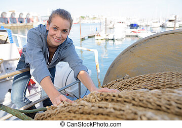 woman working in a dock