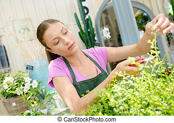 Woman working in a plant shop