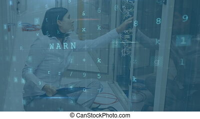 Woman working in a server room while danger messages move and flash in the foreground