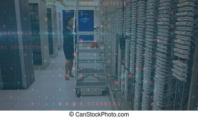Woman working in a server room while security messages move in the foreground