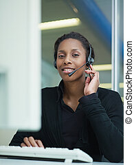 woman working in call center