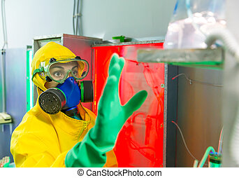 Woman working in chemical laboratory