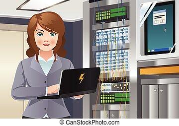 Woman Working in Computer Server Room