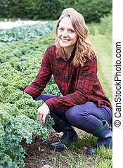 Woman Working In Field On Organic Farm
