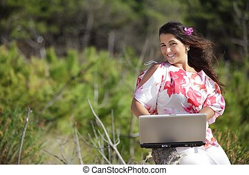 woman working in nature