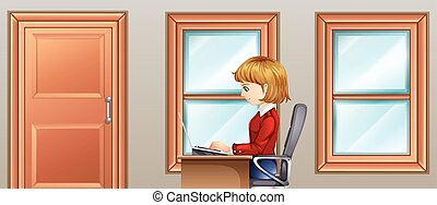 Woman working in room